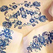 Для дома и интерьера ручной работы. Ярмарка Мастеров - ручная работа Льняная вышитая скатерть 5005 в стиле Гжель. Handmade.