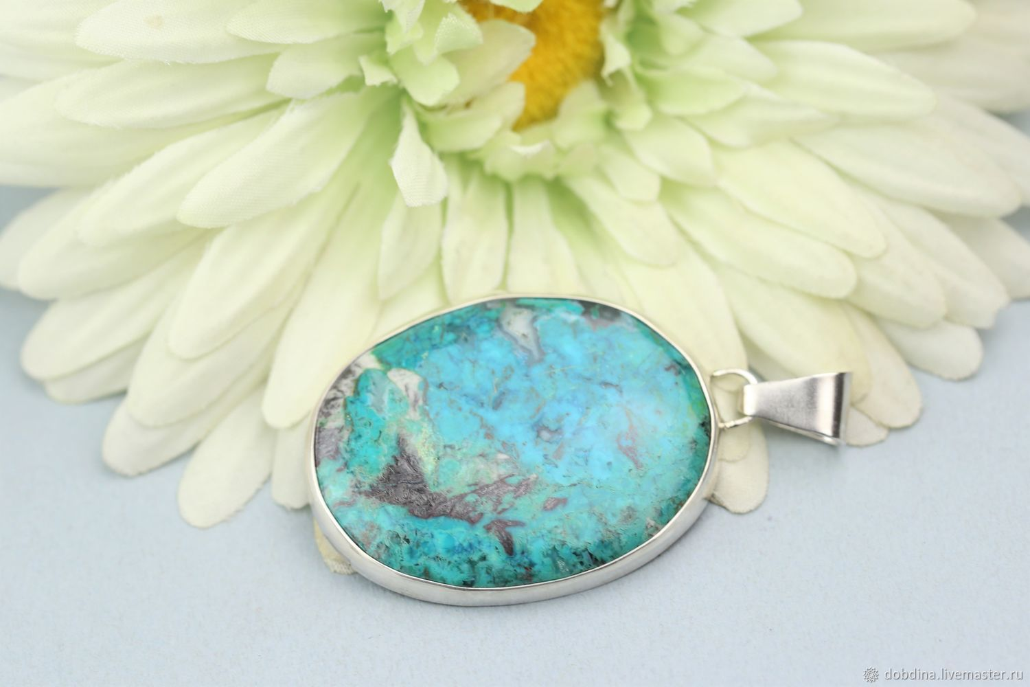 Pendant with chrysocolla. Silver, Pendant, Moscow,  Фото №1