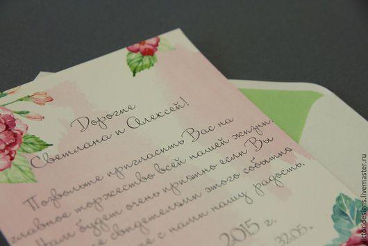 Свадебные аксессуары ручной работы. Ярмарка Мастеров - ручная работа. Купить Акварельные приглашения. Handmade. Разноцветный, акварельные цветы, свадьба