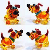 Куклы и игрушки handmade. Livemaster - original item Collectible micro figurine made of colored glass Dog Babaky. Handmade.