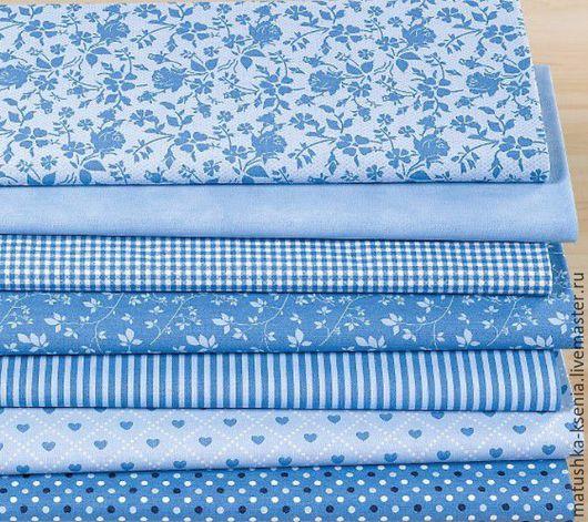 """Шитье ручной работы. Ярмарка Мастеров - ручная работа. Купить Набор хлопка Германия Новый год """"Идеальный голубой"""" тканей для тильды. Handmade."""