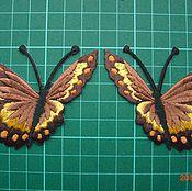 Материалы для творчества ручной работы. Ярмарка Мастеров - ручная работа аппликация вышитая-бабочка  клеевая рыжая. Handmade.