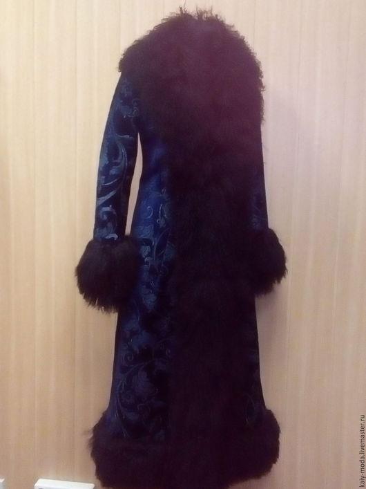 Верхняя одежда ручной работы. Ярмарка Мастеров - ручная работа. Купить Шикарное  пальто с мехом ламы. Handmade. Синий, подкладка