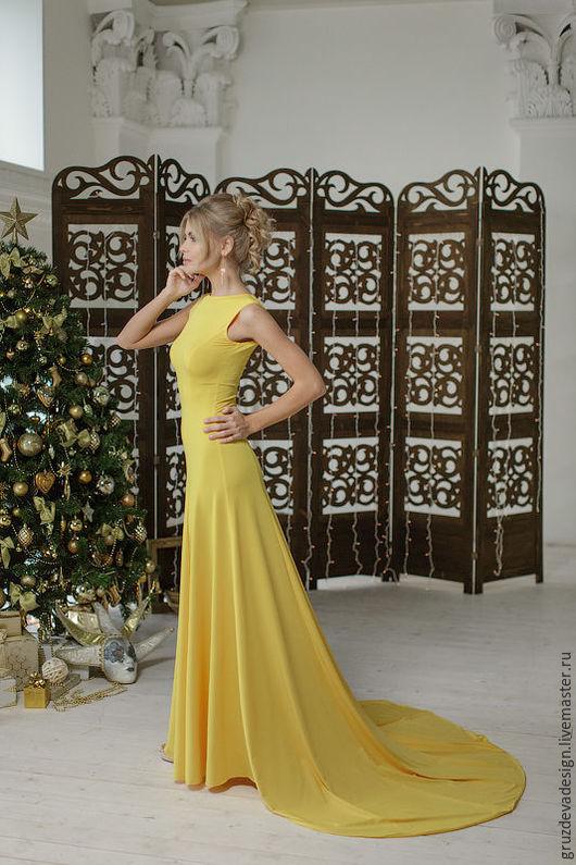 """Платья ручной работы. Ярмарка Мастеров - ручная работа. Купить """"Цветок"""" женское платье. Handmade. Желтый, платье в пол, стиль"""