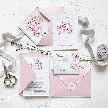 """Свадебный салон ручной работы. Ярмарка Мастеров - ручная работа Приглашение """"Пионы"""", в конверте. Handmade."""
