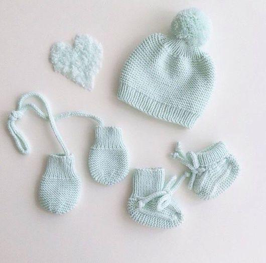 Для новорожденных, ручной работы. Ярмарка Мастеров - ручная работа. Купить Комплект для малыша. Handmade. Пинетки, носочки вязаные