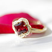 Украшения handmade. Livemaster - original item Ring with garnet and diamonds