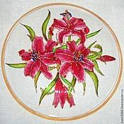 """Посуда ручной работы. Ярмарка Мастеров - ручная работа тарелка """"Великолепные лилии"""". Handmade."""