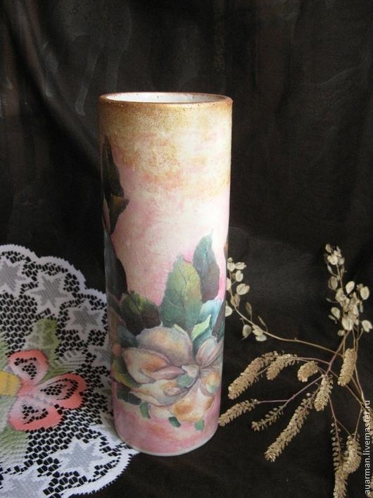 Вазы ручной работы. Ярмарка Мастеров - ручная работа. Купить Ваза керамическая декупаж Магнолии на розовом. Handmade. Ваза, магнолия