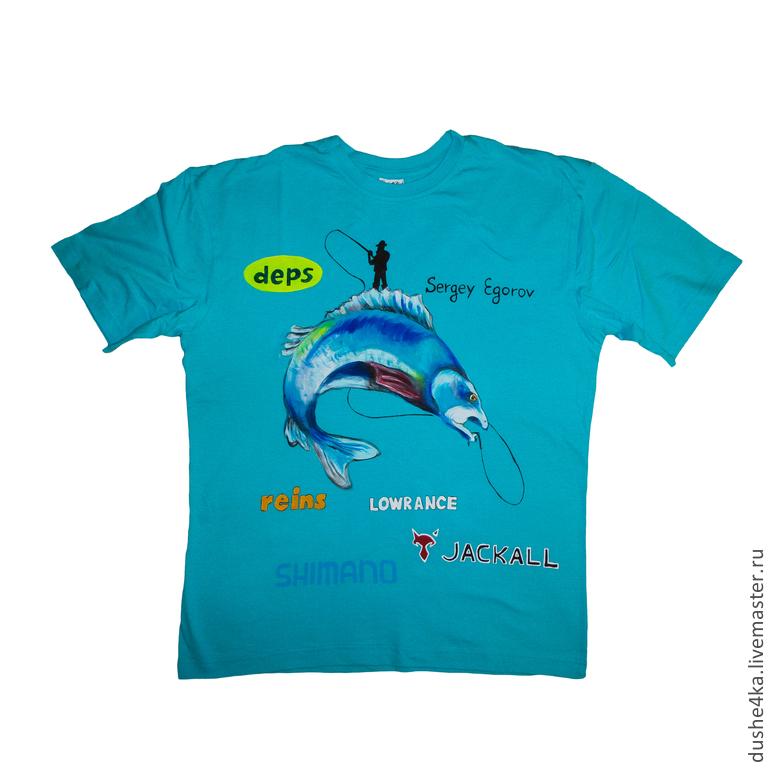 Рисунок на футболку рыбак