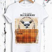 Одежда handmade. Livemaster - original item White cotton dog print t-shirt TEE10011CT. Handmade.