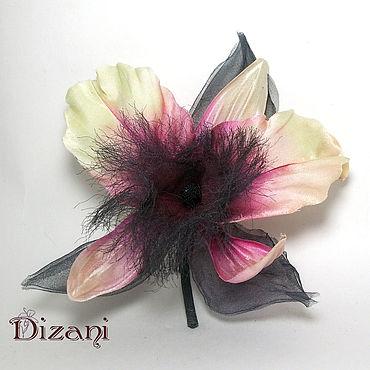 Flowers and floristry handmade. Livemaster - original item Orchid brooch, fabric Flowers, silk flowers.. Handmade.
