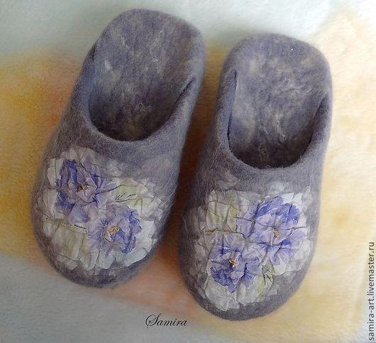 """Обувь ручной работы. Ярмарка Мастеров - ручная работа. Купить Тапочки валяные """"Viola"""". Handmade. Сиреневый, женские тапочки, войлок"""