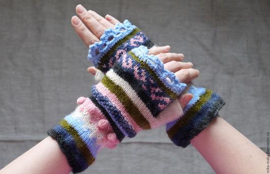 Варежки, митенки, перчатки ручной работы. Ярмарка Мастеров - ручная работа. Купить Митенки. Handmade. Коралловый, митенки вязаные