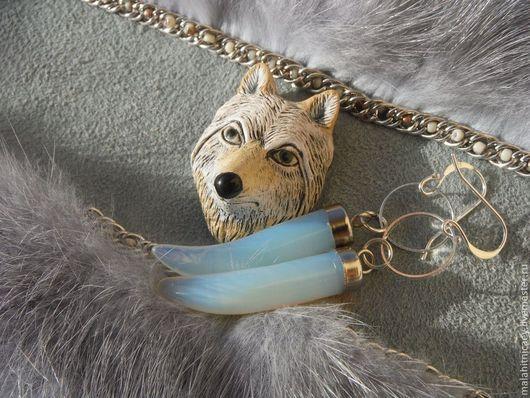 Комплект  браслет и серьги из кожи Лютоволк