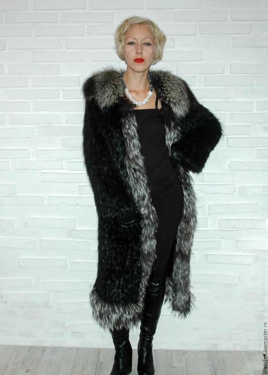 Верхняя одежда ручной работы. Ярмарка Мастеров - ручная работа. Купить Пальто меховое вязаное -нутрия черная. Handmade. Черный