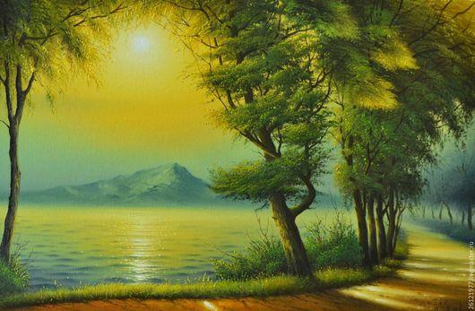 Картина маслом `Аллея вдоль залива` 40/60см.