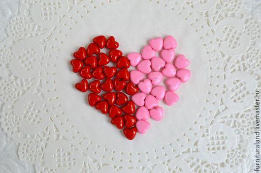 Для украшений ручной работы. Ярмарка Мастеров - ручная работа. Купить Акриловые бусины красные и розовые сердечки. Handmade. сердце