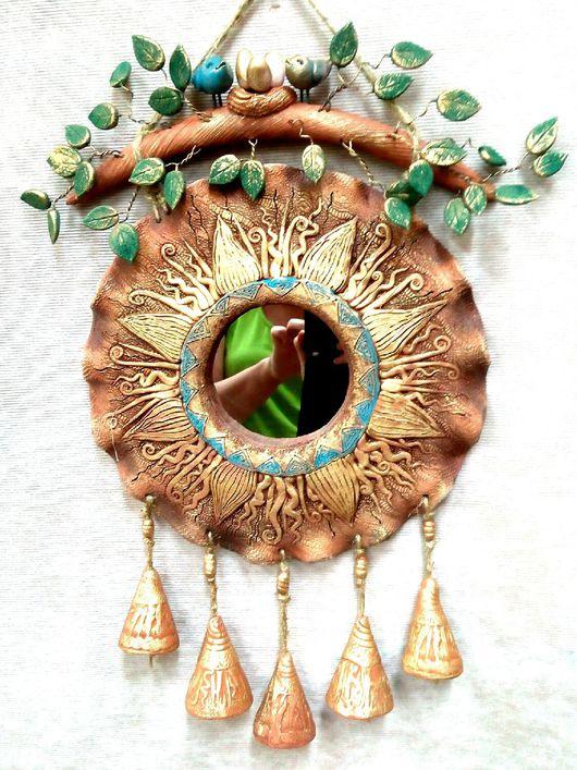 """Зеркала ручной работы. Ярмарка Мастеров - ручная работа. Купить Панно с зеркалом """" Солнце"""". Handmade. Зеркало настенное, гнездо"""