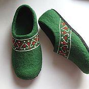 """Обувь ручной работы. Ярмарка Мастеров - ручная работа домашние тапочки """"Русские мотивы"""". Handmade."""