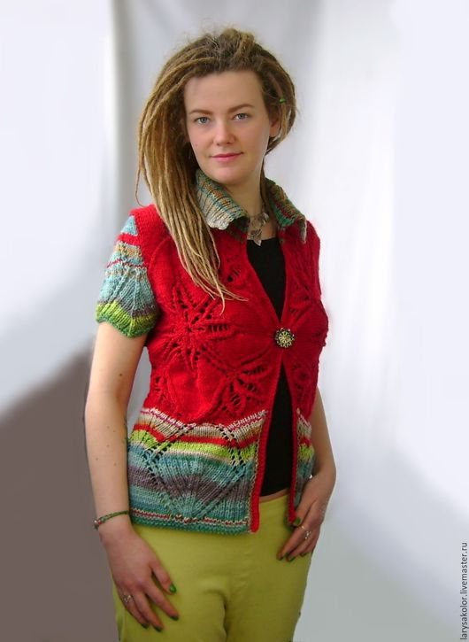 Пиджаки, жакеты ручной работы. Ярмарка Мастеров - ручная работа. Купить Жакет,,Fiesta,,. Handmade. Ярко-красный, шерстяная пряжа