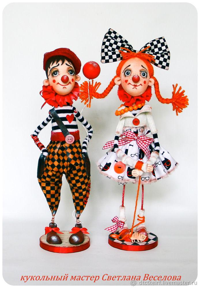 Авторские куклы Клоуны Романтик и Рыжикова, Куклы, Санкт-Петербург, Фото №1