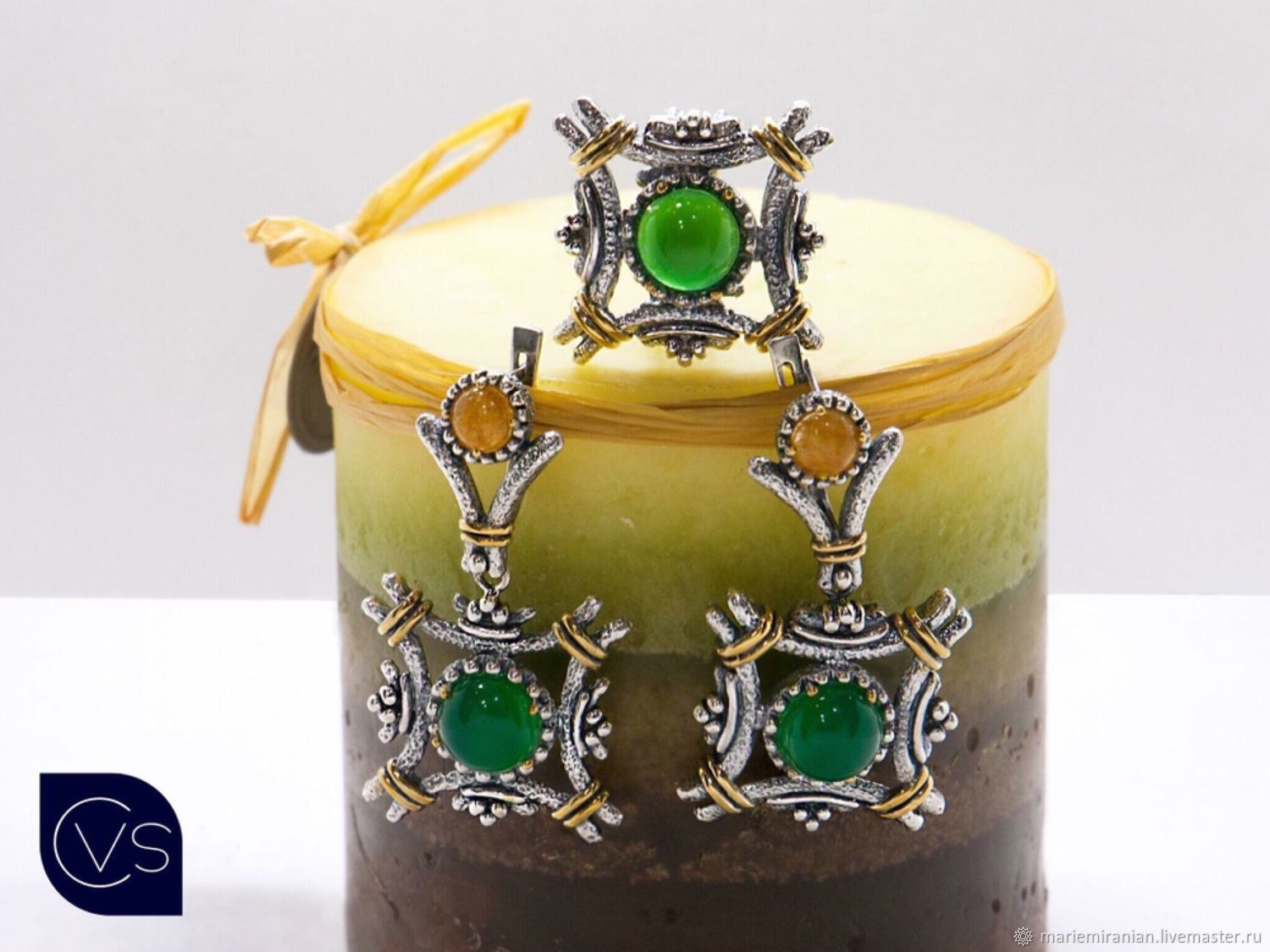 Rubicon.  Earrings and ring with chrysoprase in silver 926, Jewelry Sets, Moscow,  Фото №1