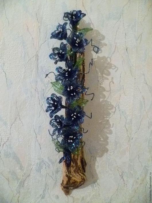 Картины цветов ручной работы. Ярмарка Мастеров - ручная работа. Купить вьюнок. Handmade. Тёмно-синий, природные материалы