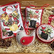 Подарки к праздникам handmade. Livemaster - original item Set 4 PCs Christmas decorations out of felt and fabric