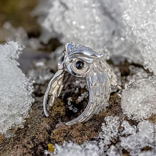 Кольца ручной работы. Ярмарка Мастеров - ручная работа. Купить Кольцо «Совка» из серебра. Handmade. Серебряный, серебряные украшения