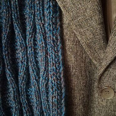 """Аксессуары ручной работы. Ярмарка Мастеров - ручная работа Сине-серый вязаный шарф """" Синие пески"""". Handmade."""