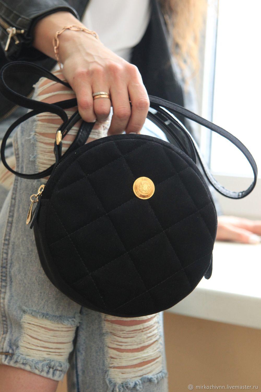 a473c44c3254 ... Женские сумки ручной работы. Сумка женская бархатная, сумочка круглая  'Блэк-Зефир'