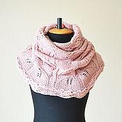 Аксессуары ручной работы. Ярмарка Мастеров - ручная работа Розовый персик- вязаный женский шарф снуд-хомут. Handmade.