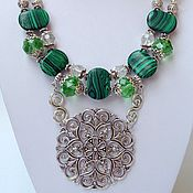 Украшения handmade. Livemaster - original item Set , necklace and earrings in Oriental style malachite Baroque.. Handmade.