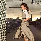 Одежда ручной работы. Ярмарка Мастеров - ручная работа Платье - сарафан из тонкой шерсти, платье синее зеленое бежевое в офис. Handmade.