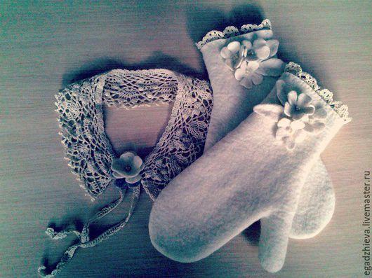 Варежки, митенки, перчатки ручной работы. Ярмарка Мастеров - ручная работа. Купить Варежки валяные снежные цветы. Handmade. Белый