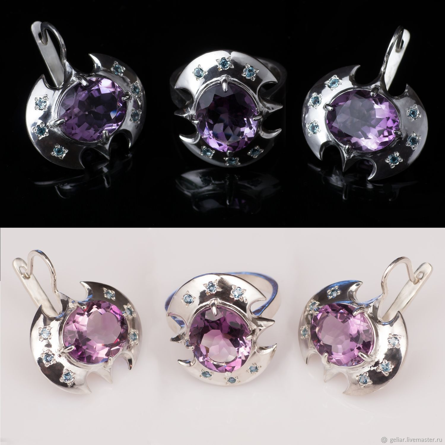 Ring and earrings with amethyst and Topaz ' Valkyrie Protection', Jewelry Sets, Tomsk,  Фото №1