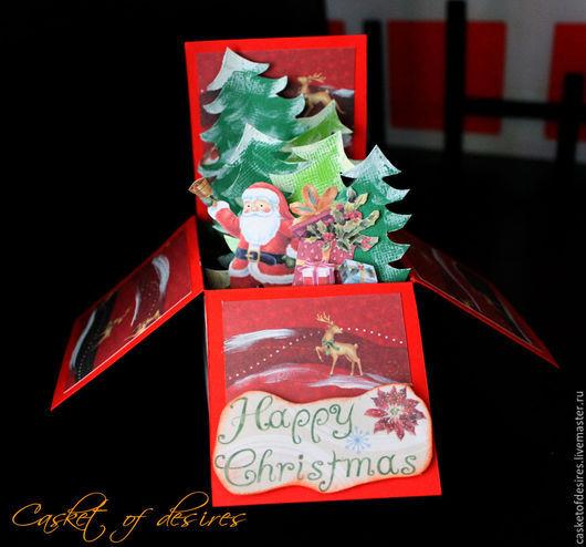 Открытки к Новому году ручной работы. Ярмарка Мастеров - ручная работа. Купить Объемная новогодняя открытка 1 (Pop Up Box Card ). Handmade.