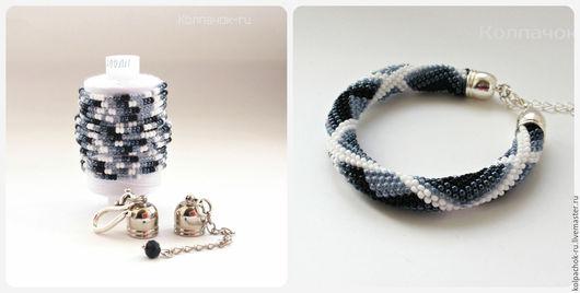 """Для украшений ручной работы. Ярмарка Мастеров - ручная работа. Купить Набор для вязания жгутов """"Серые ромбики""""- браслет. Handmade."""