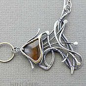 Украшения handmade. Livemaster - original item The Fish - Sterling Silver pendant with Agate. Handmade.