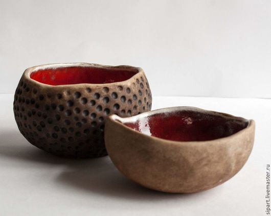 """Пиалы ручной работы. Ярмарка Мастеров - ручная работа. Купить Комплект пиал """"Лава"""". Handmade. Ярко-красный, посуда из керамики"""