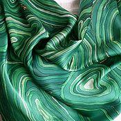 Аксессуары ручной работы. Ярмарка Мастеров - ручная работа Платок Малахит шелковый батик. Handmade.