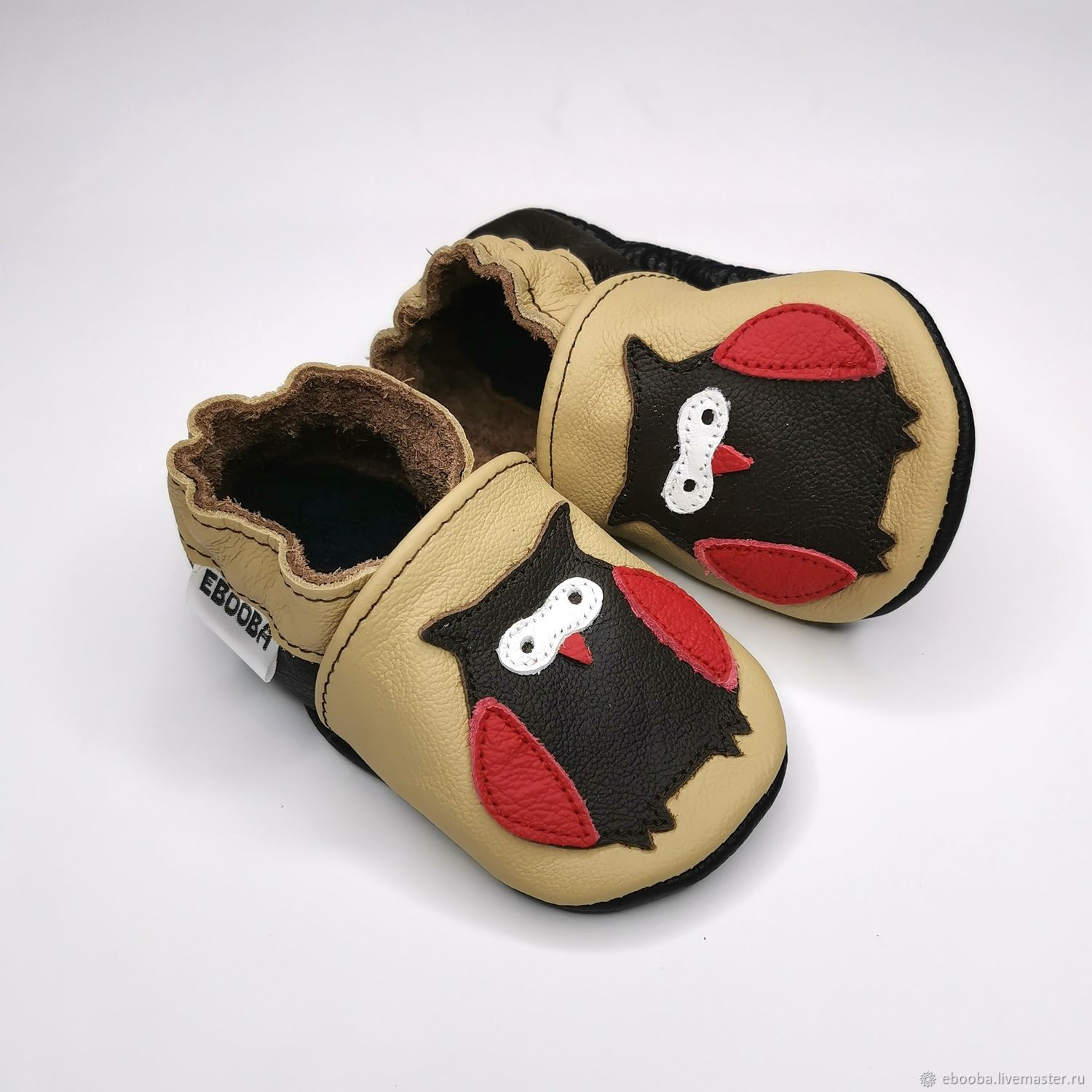 Baby moccasins beige,Ebooba,Owl baby shoes,Soft sole leather shoes, Footwear for children, Kharkiv,  Фото №1