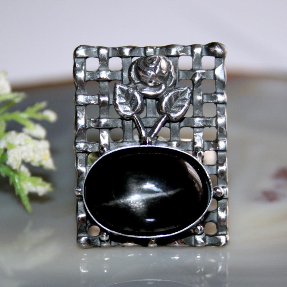 Diopside, silver: Black Rose ring', Rings, Prague,  Фото №1
