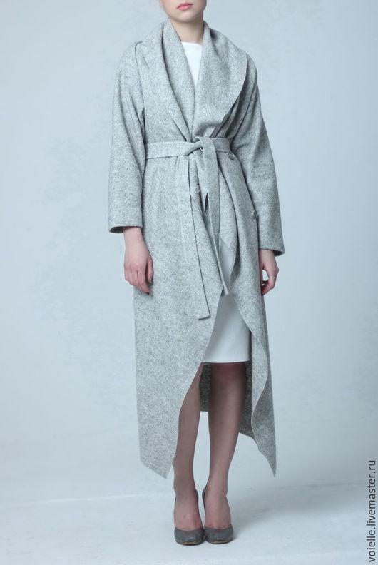Пальто из валяной шерсти лоден демисезонное женское на весну, пальто на осень, пальто без подкладки, пальто серое меланж, пальто халат пальто необычное пальто