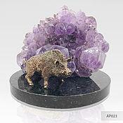 Для дома и интерьера handmade. Livemaster - original item Bronze wild Boar with amethyst, the symbol of the year of the pig. Handmade.