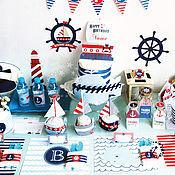 Подарки к праздникам ручной работы. Ярмарка Мастеров - ручная работа Набор полиграфии для Сладкого стола в морском стиле. Handmade.