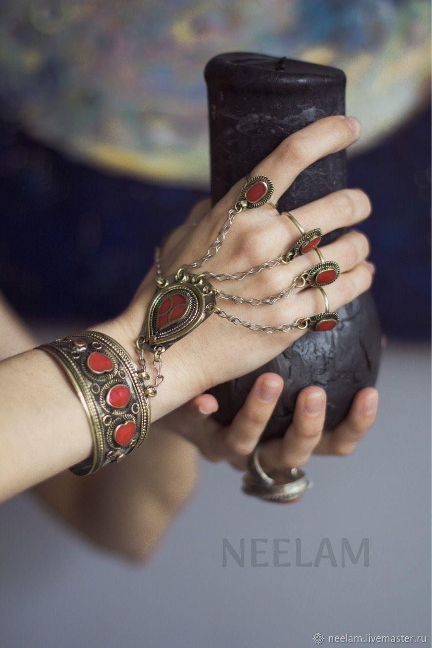 Восточный браслет с красной эмалью в стиле бохо-шик, Браслеты, Киев, Фото №1