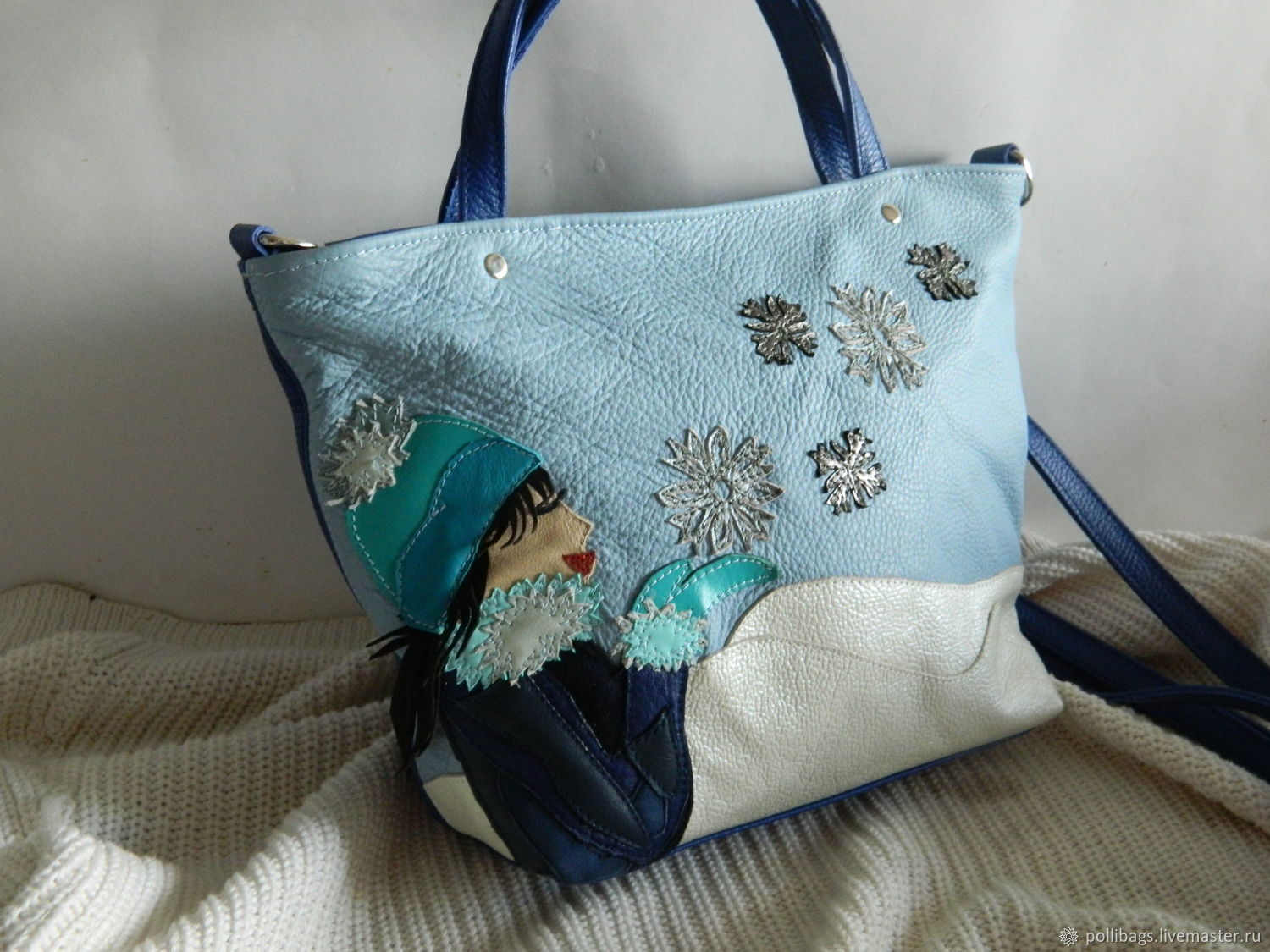 Bag leather womens bag with applique charm of winter u2013 shop online