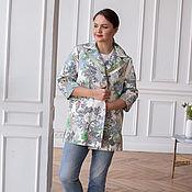 Одежда handmade. Livemaster - original item Olive-colored cotton jacket, T-shirt. Handmade.